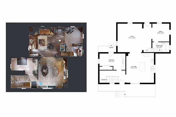 Wirtualny spacer Matterport plan rzut budynku