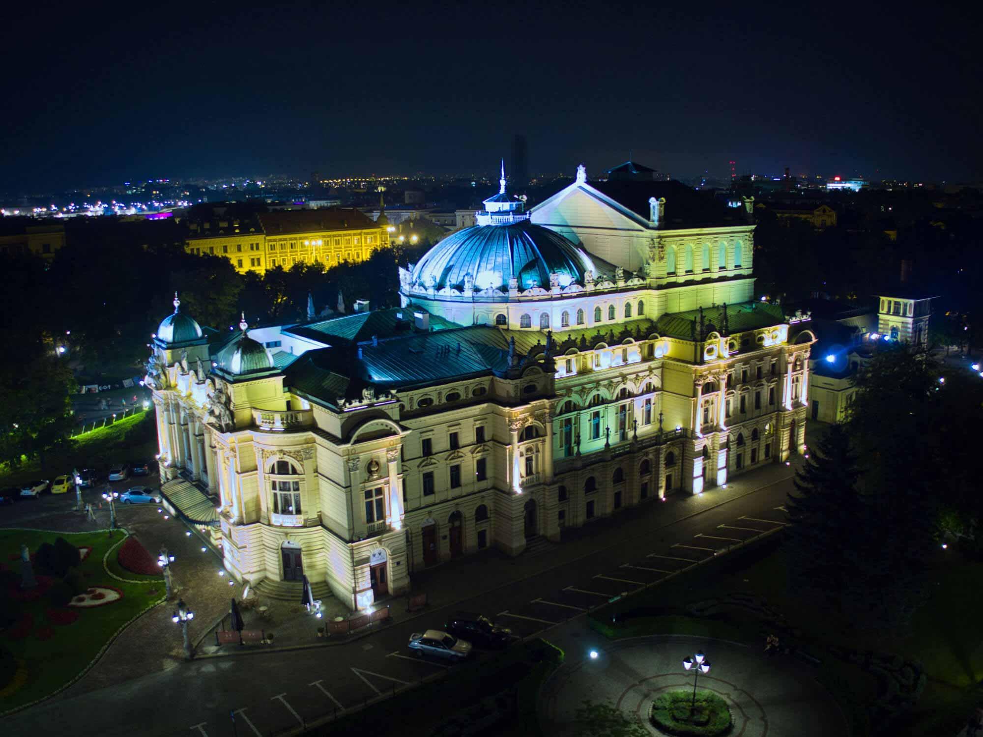 Wirtualny spacer Teatr Słowackiego z lotu ptaka
